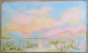 """Day on   -  oil on canvas : loose """"page""""                             10"""" x 17""""  ( framed to 15"""" x 22"""" : floating )"""