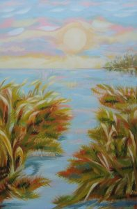 """Early Sky Wetlands""  24"" x 16""  oil on canvas"