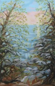 """In the Branches I""   28"" x 18""  oil on canvas"