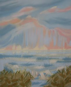 """Squall Thistle  -  oil on canvas                                                     20"""" x 16""""  ( framed to 21"""" x 17"""" )"""