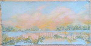 """Still I - oil on canvas  :  loose """"page""""                                                                       9"""" x 17""""  ( framed to 15"""" x 22"""" : floating )"""