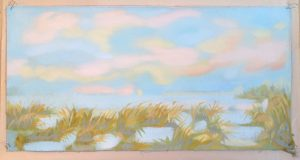 """Still II  -  oil on canvas : loose """"page""""                               9"""" x 17""""  ( framed to 15"""" X 22"""" floating )"""