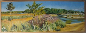 """Bass Creek / Shelter Island "" oil on canvas Framed to 21"" x 56"""