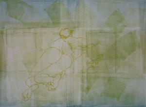 """""""Reclining woman w/ braid"""" 22"""" x 30""""  gouache monotype on BFK Framed to 33"""" x 41"""""""
