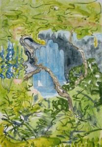 """""""Arbor Visit""""  14"""" x 10"""" gouache monotype on BFK Framed to 20""""x16""""                                       one sold"""