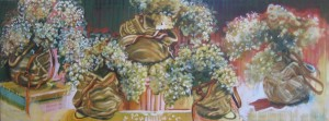 """Bags of Dried Hydrangia""  21"" x 57""  oil on canvas"