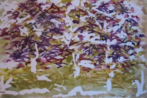 """""""Beech in Summer"""" 12"""" x 18""""  gouache on Arches               Framed to 18"""" x 24"""""""