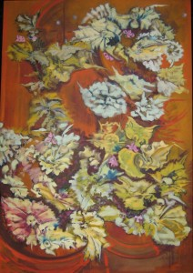 """""""Begonia I"""" oil on canvas framed to  48"""" x  34"""""""