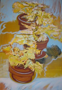 """Begonia II"" ""oil on canvas  40"" x 28"" framed to  42"" x  30"""