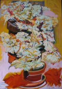 """Begonia III"" oil on canvas  40"" x 28"" framed to  42"" x  30"""