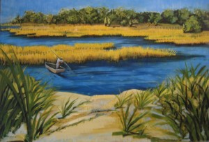 """""""Clamming"""" 32"""" x 46""""  oil on canvas"""