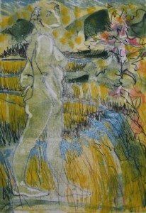 "Figure in Landscape 14"" x 10""  gouache monotype on BFK  Framed to 20"" x 16"""