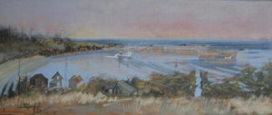 """""""Herring Carrier""""  oil on canvas  10"""" x 24"""" Sold"""