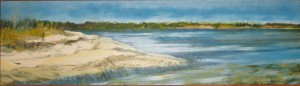 """North Haven I"" 7"" x 24"" oil on panel framed to  8"" x 25"" ( part I of II )"