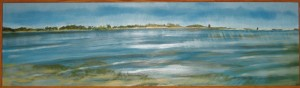 """North Haven part II"" 7"" x 24""  oil on panel framed to  8"" x 25"" ( part II of II )"