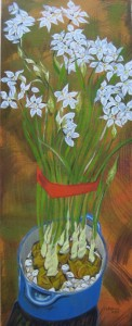 """Paperwhites"" 30"" x 12""  oil on canvas"
