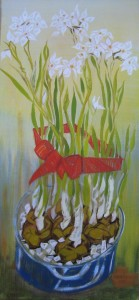 """""""Paperwhites in morning"""" 24"""" x 11""""  oil on canvas"""