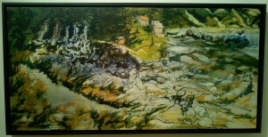 """""""Point View"""" oil on canvas  framed to 26"""" x 52"""""""