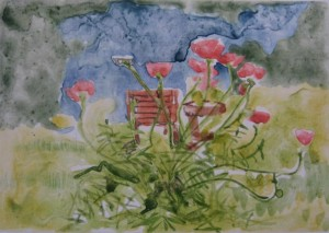"""""""Poppies""""  10"""" x 14""""  gouache monotype on BFK Framed to 16"""" x 20""""                                    sold"""