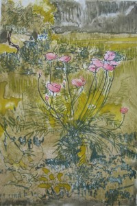 """""""Poppies II""""  13"""" x 9""""  gouache monotype on BFK     Framed to 20"""" x 16"""""""