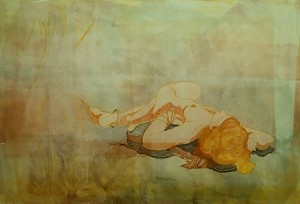 """""""Reclining Woman with Bangles"""" 24"""" x 36""""  gouache monotype on BFK  Framed to 36"""" x 44"""""""