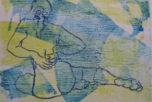 "Seated Stretch 10"" x 14""  gouache monotype on BFK Framed to 16"" x  20""  Sold"