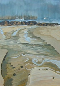 """Seine Tide"" oil on canvas  48"" x 32"" Framed to 52"" x 36"""