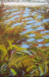 """Spring Overflow"" 28"" x 18""  oil on canvas                          Framed to 29"" x 19"""