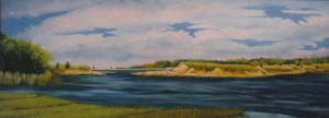 """Spring Sky"" 20"" x 55""  oil on canvas framed to  20"" x  55"" Sold:"