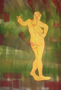 """""""Standing Figure"""" 26"""" x 18""""  gouache monotype on BFK Framed to 35"""" x 27"""""""