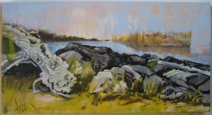 """Still Life on Fundy"" oil on canvas framed to  24"" x  40"" (black floater)"