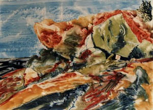 """22"""" x 30""""  gouache monotype on BFK Framed to 30"""" x 40"""""""