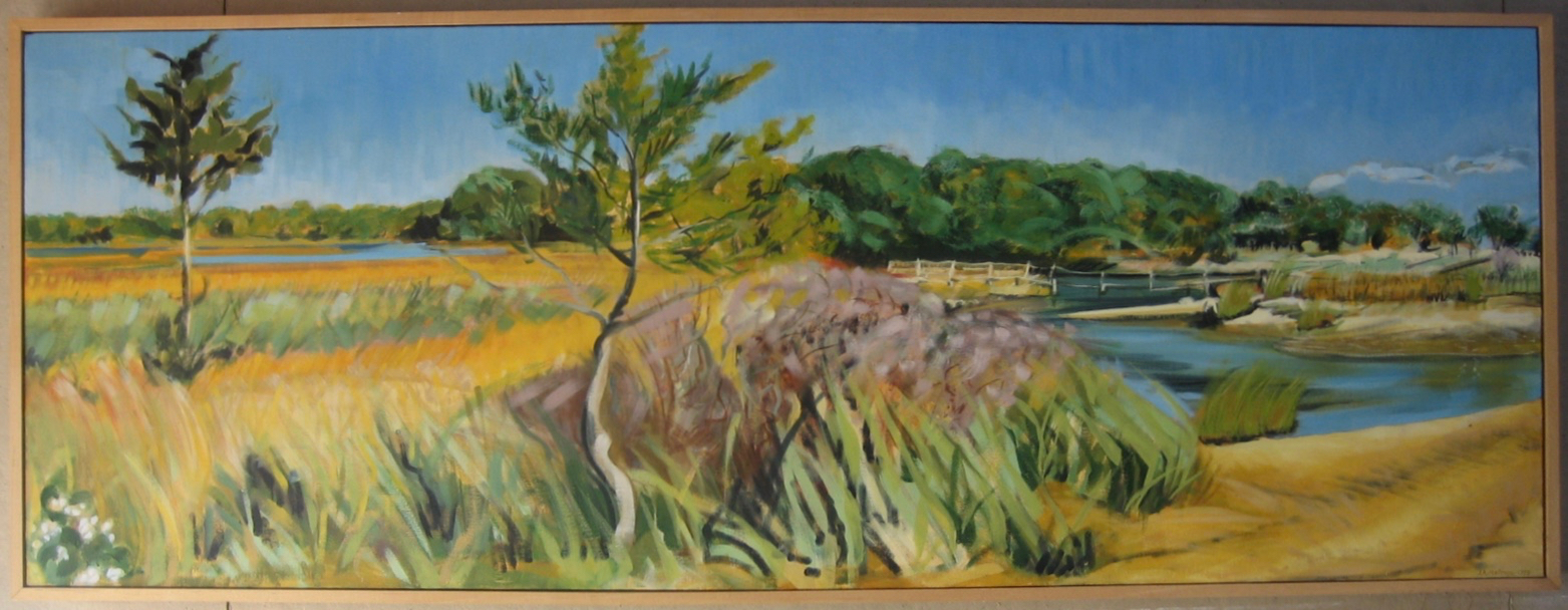 """""""Bass Creek / Shelter Island """" oil on canvas Framed to 21"""" x 56"""""""