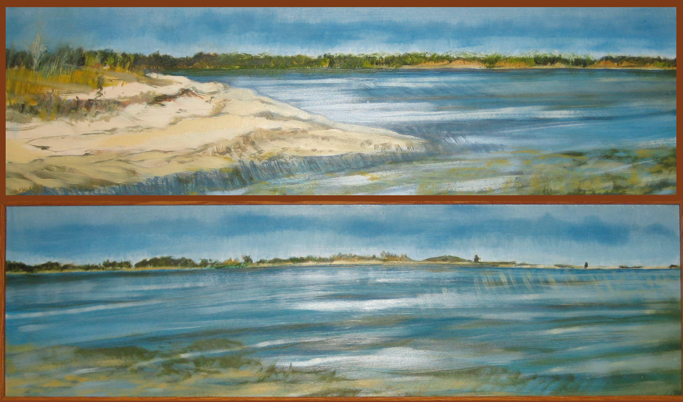 """North Haven - Parts I and II (stacked vertically, displayed horizontally) 7"""" x 24"""" oil  panels"""