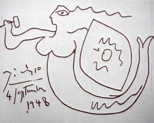 Picasso's drawing of Warsaw Mermaid