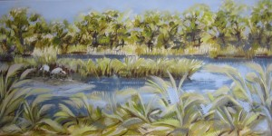"""Herons Snack 12"""" x 24"""" oil on canvas"""